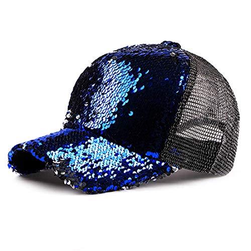 Yogwoo Nueva Gorra De BéIsbol De Malla Brillante con Lentejuelas,Recluta Sombreros De NiñA, De Mujer Hermosos Y Ajustables para La ReunióN del Club De Fiestas Blue