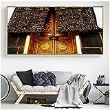 NIESHUIJING Impresión en Lienzo Gran Mezquita de La Meca Carteles Arte de la Pared Pintura de la Sala de Estar de la Kaaba Sagrada Decoración para el hogar 27.5'x55.1 (70x140cm) Sin Marco