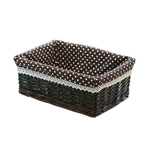 Quyi Förvaringslådor korg förvaringskorg rotting förvaringskorg för skåp låda garderob hylla byrå – 30 × 20 × 12 cm – djup kaffe kaffe prickig duk
