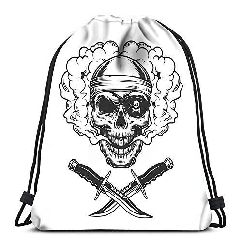 WH-CLA Unisex Drawstring Backpack,Schädel In Bandana Und Piraten-Augenklappe Rauchwolke Mit Gekreuzten Messern Vintage Monochrom-Stil Stilvoll Rucksack Beutel Tasche Sport Tunnelzug Gymsack