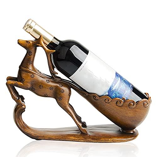 Carrito de Botella de Alce, Soporte de exhibición de Mesa, Soporte de Botella de Vino de pie, Estatua de Resina Artesanal, para la decoración de la Sala de Estar del hogar y la Cocina