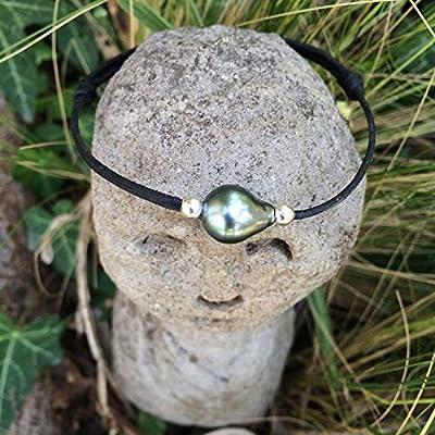Perle de tahiti, bracelet adaptable, cuir australien, bracelet unisexe, cuir coulissant