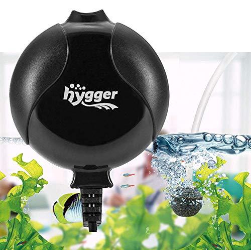 Hygger Bomba Aire Acuario Silencio Tranquilo Bomba Oxigeno de Aire Bomba de Oxígeno para Acuarios de hasta 50L Bomba de Oxígeno Silenciosa 1.5W Ruido de Menos de 33dB ((Negro)