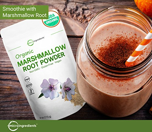 Pure USDA Organic Marshmallow Root Powder, 4 Ounce, Supports Digestive Gastrointestinal Health, No Irradiated,...