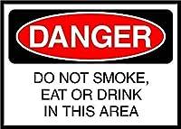 このエリアで煙を吸ったり、食べたり飲んだりしないでください。 メタルポスター壁画ショップ看板ショップ看板表示板金属板ブリキ看板情報防水装飾レストラン日本食料品店カフェ旅行用品誕生日新年クリスマスパーティーギフト