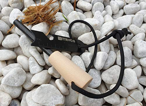 NITROcs Survival Flint Fire Steel with Wooden Handle 12 cm Fire Starter for Adventure Camping Garden Forest with Kienspan Starter