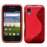 ebestStar - Cover Compatibile con Samsung Ace Galaxy S5839i, S5830, S5830i Custodia Protezione S-Line Design Silicone Gel TPU Morbida e Sottile, Rosso [Apparecchio: 112.4 x 59.9 x 11.5mm, 3.5'']