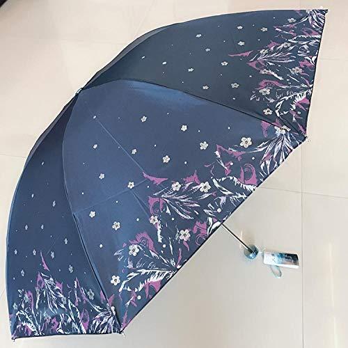 Regenschirme Regenschirm Regenschirm Faltpaket Alle Stahl Einfarbig Silber Kunststoff Sonnenschirm Anti-Uv-Sonne Weibliche Outdoor Dreifach Gefaltete Regenschirm-19 Silber Seidendrucke