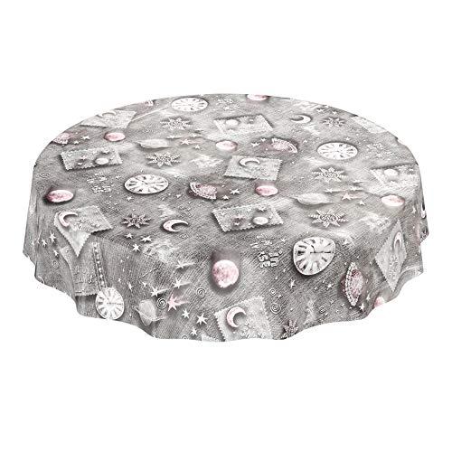 Hule mantel encerado lavable sueños planeta universo luna tiempo estrella tamaño a elegir, toalla, Mit Muster, Rund 140cm