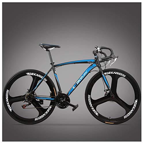 QMMD 26 Pulgadas Adulto Bicicleta de Carretera, 21 Velocidades Freno de Disco Mecánico Bicicleta, Bicicleta de Carreras Hombre,Cuadro Hi-Ten Acero Bicicleta Urbana,Blue 3 Spokes,21 spee