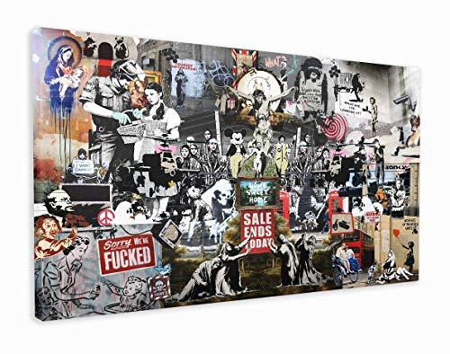 M2M Prints Impression sur toile collage Banksy (152 x 91 cm)
