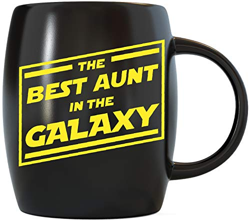 Mothers Day Gifts for Best Aunt In The Galaxy Funny Birthday or Christmas Novelty Gag Gift Idea for Worlds Greatest and Coolest Auntie Ever Ceramic Coffee Mug Tea Cup