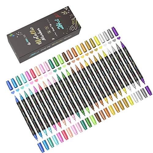 Metallic Marker Stifte Set 24 Farben Permanent Metallischen Marker für Steine Schwarzes Papier Holz Keramik Glas Kunststoff Leinwand