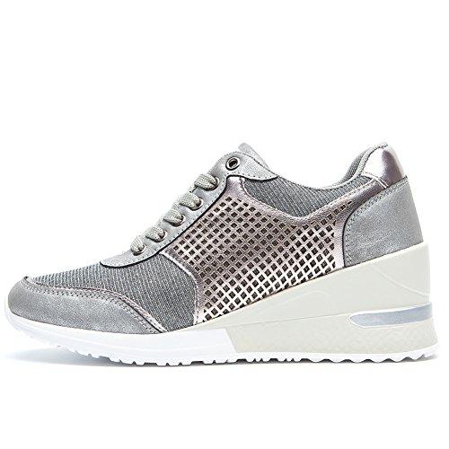 Zapatillas Deportivas Plataforma Cuña para Mujer - ANJOUFEMME Zapatos Wedge Sneakers Mujer, Apto para Todas Las Estaciones SM1-SILVER-38