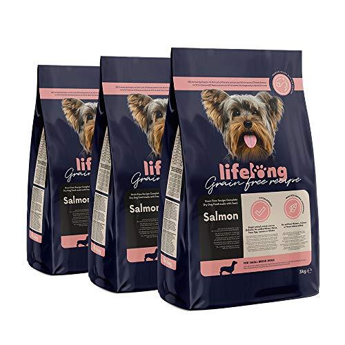 Marchio Amazon - Lifelong Alimento secco completo per cani di razza piccola con salmone fresco, ricetta senza grano - 3kg*3