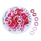 Cosanter 100Pcs Cuerda Para El Cabello De Círculo Pequeño Cuerda Elástica De Goma Del Pelo Para Trenzado Del Pelo Accesorios Para El Cabello (Rosa)