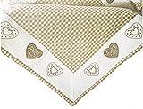 Mantel para centro de mesa, 85 x 85 cm, estilo rústico, vintage, a cuadros y corazones bordados, color beige