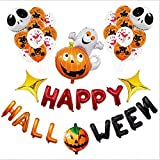 SSJIA Happy Halloween Foil Látex Globo Set Calabaza Fantasma Taro Adornos de Halloween Globos de Aire Banner Horror Fiesta Favor Decoración, Estilo 1