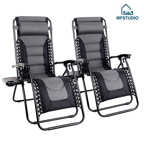 MFSTUDIO Zero Gravity Chair Large Portable Patio Recliners Adjustable Padded Folding Chair with Cup Holder for Poolside Outdoor Yard Beach, Set of 2 - Gray