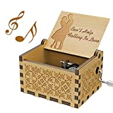 QianQian Can't Help Falling in Love Music Box, Vintage Wood Hand Crank Music Gift for Lover/Husband/Wife/Boyfriend/Girlfriend Birthday Present Kids Toy, Antique Carved Musicial Crafts