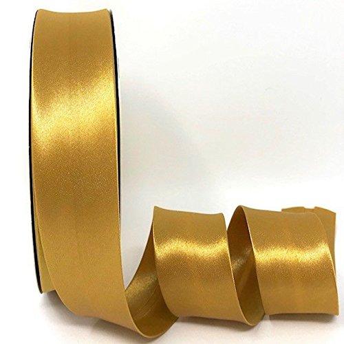 Byetsa Schrägband, antikes Gold, 30 mm, 2 m Länge, Satin, Schrägband, Dies ist EIN Schnitt aus Einer Rolle, präsentiert auf Einer Bertie's Bows-Karte.