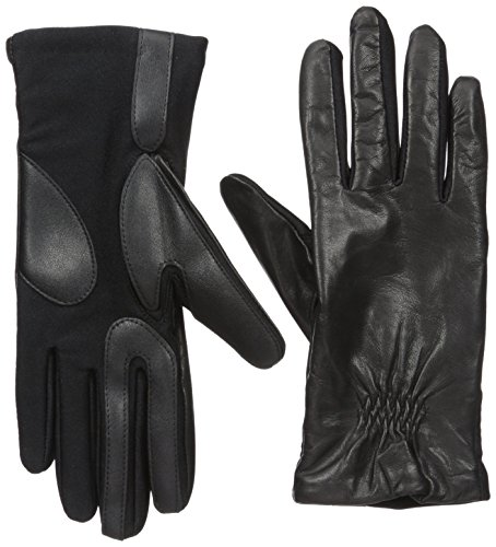 isotoner Women's Classic Stretch Leather Touchscreen Cold Weather Gloves, Fleece Lining, Small / Medium, Black