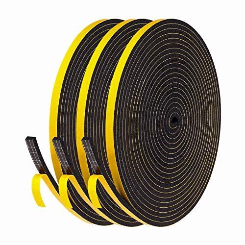 fowong 15m Dichtungsband für Türen Fenster 6mm(B) x3mm(D) Selbstklebendes Schaumstoffband Türdichtung Fenste, Gummidichtung für Kollision Siegel Schalldämmung 3 Rollen je 5m lang Schwarz