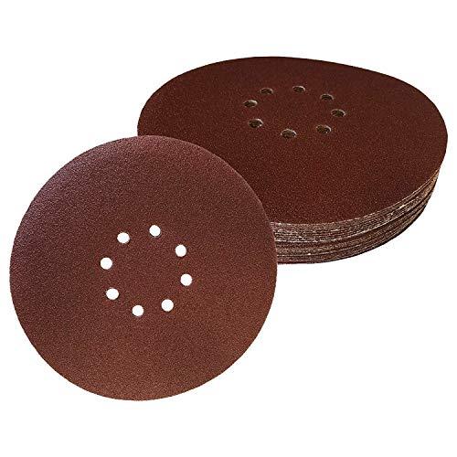 FD-Workstuff Lot de 30 disques abrasifs professionnels 8 trous Ø 225 mm 5 x grain 40/60/80/120/180/240 mm auto-adhésifs pour ponceuse à col long