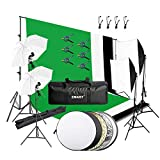 Emart 8.5 x 10 ft Backdrop Support System, Photography Video Studio Lighting Kit Umbrella Softbox Set Continuous Lighting for Photo Studio Product, Portrait and Video Shooting Photography