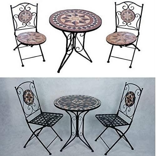 Bagno Italia Arredamento per Esterno Set Giardino tavolino Rotondo in Mosaico con 2 sedie arredo...