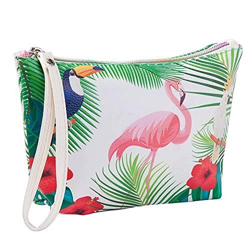 Kasla Maquillage cas sac à main, cuir PU Flamingo cosmétique pochette pochette trousse de toilette organisateur de crayon avec bandoulière pour voyage/école / bureau (Fleurs blanches + rouges)