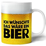 Tasse mit Bier Spruch für Männer Ich wünschte das wäre ein Bier Lustig Kaffee-Tasse Geschenk-Idee für Ihn Vatertagsgeschenk Vatertag Herrentag Fototasse