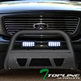Topline Autopart Matte Black Studded Mesh Bull Bar Brush Push Front Bumper Grill Grille Guard With Skid Plate + 36W CREE LED Fog Lights For 97-03 Ford F150 / F250 / 04 Heritage / 97-02 Expedition