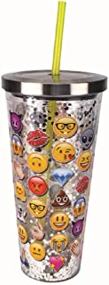 Spoontiques 21315 Emojis Glitter Cup With Straw, One size, Multicolor