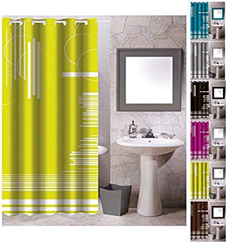 "MSV Anti-Schimmel Textil Duschvorhang - Anti-Bakteriell mit 12 Duschvorhangringen - Polyester, ""Graphics"" Grün, 180x200cm"