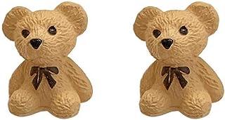 XCFS Silver Pack Needle 3D Cute Brown Bear Charm Studs Women Girls Resin Bears Post Stud Earrings