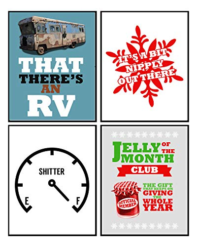 Silly Goose Gifts Funny Christmas Movie Wall Art Mix Sign (Set of 4) 8x10in Humorous Decoration Decor (Blue)