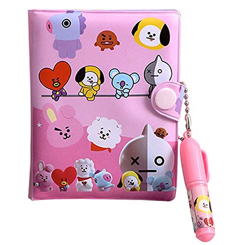 BTS Notebook, NALCY Mini Diary Notebook, BTS-Design Diary with Dividers, Journal with Buckle, One of The Fashionable Memo Pads, Gift for A.R.M.Y (10.5 * 8.2 cm)