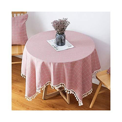 MANTEL Redondo Nórdico Rosa Corazón, Cuadrado Pequeño Y Fresco, Tela De Mesa Amarilla (Color : Pink, Size : 240 * 240cm)