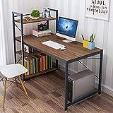 Dripex Table de Bureau avec Etagère de Rangement, Table de Travail en Bois, Bureau d'Ordinateur pour Ecole, Bureau et Domicile 120 x 60 x 120 cm(Brun)