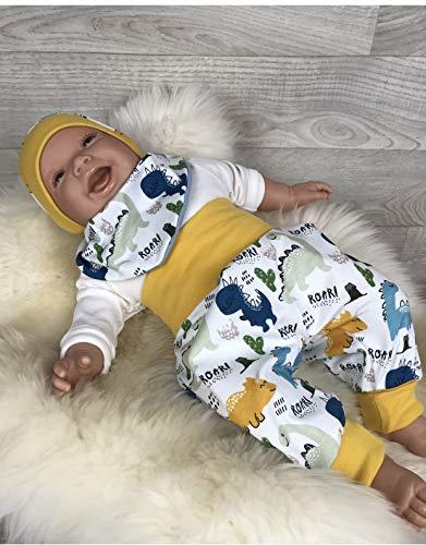 Baby Set 56 62 68 74 Hose, Mütze und Dreieckstuch, Erstausstattung, new born set, junge Pumphose gelb blau Dino