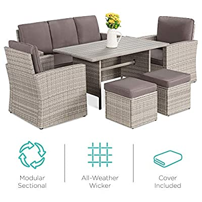 Best Choice Products 7-Seater Conversational Wicker Dining Table, Outdoor Patio Furniture Set w/Cover - Gray/Gray