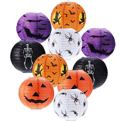 Boao 10 Piezas Linternas Papel Halloween Linterna