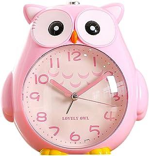 Sangshi Barnväckarklocka, utan tickande väckarklocka med nattlampa och snooze, batteridriven och lätt att justera, söt ugg...