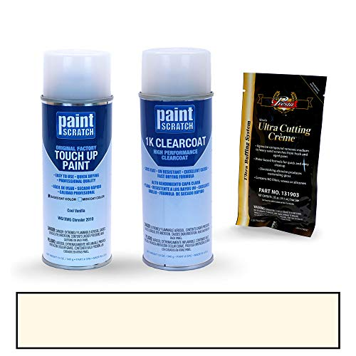 PAINTSCRATCH Touch Up Paint Spray Can Car Scratch Repair Kit - Compatible with Chrysler 300/300C Series Cool Vanilla (Color Code: WG/XWG)