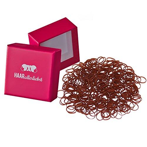 HAARallerliebst Haargummis Gummibänder mini klein (250 Stück   braun   1cm) inkl. Schachtel zur Aufbewahrung (mittelbraun; Schachtelfarbe: pink)
