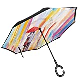 Car Reverse Umbrella,Silhouette Of Valentines Couple On A Street Rainy Day Love Romance In Urban City,With C-Shaped Handle