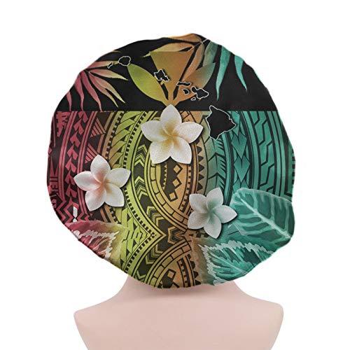 SEANATIVE Capó grande de las tribus polinesias, Plumeria, diseño colorido, gorro de noche con banda elástica, capó de pelo reversible de doble capa