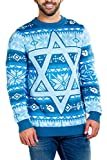 Tipsy Elves Men's Fair Isle Hanukkah Sweater - Patterned Blue Yellow Holiday Pullover Size X-Large