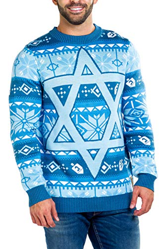 Tipsy Elves Men's Fair Isle Hanukkah Sweater - Patterned Blue Yellow Holiday Pullover Size Large
